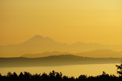 Sunrise over Mount Baker Washington from Mount Tolmie Victoria BC Canada