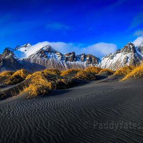 Image taken from the black sand dunes of Stokksnes, Southern Iceland.   The Vestrahorn mountains form the backdrop.