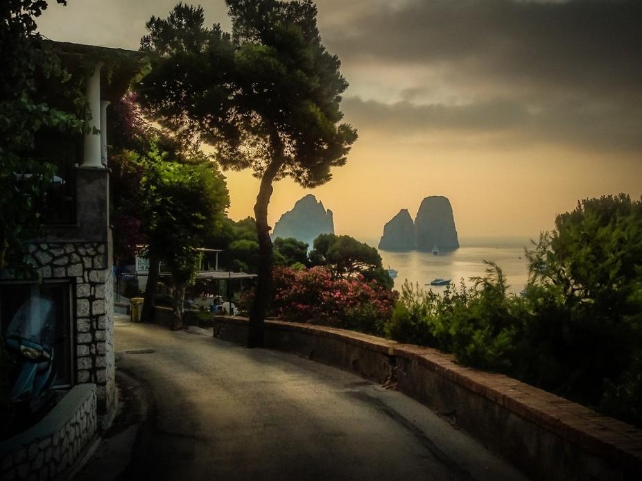 The Walk to the beach, Piccola Marina, Capri Italy