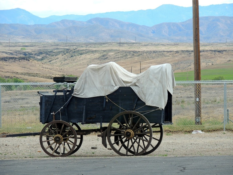 My husband and I stopped to have dinner this Covered Wagon was just sitting there.