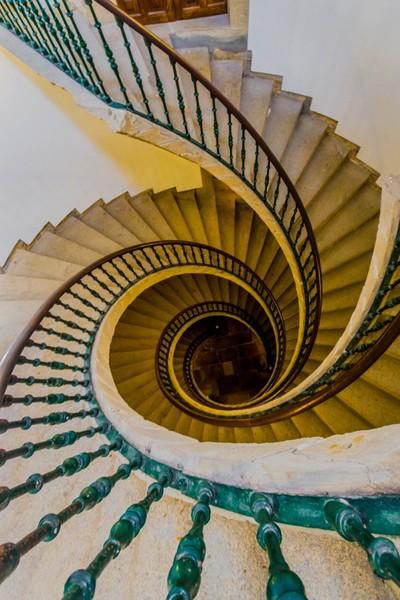 Stairs in Santo Domingo de Bonaval. Santiago de Compostela. Spain.