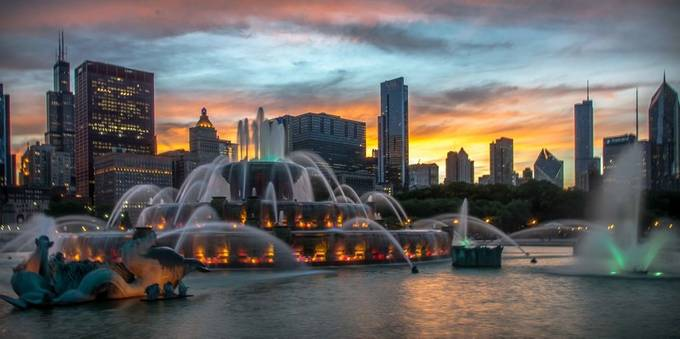 Fountain Sunset by angiesimpson - Sunset In The City Photo Contest