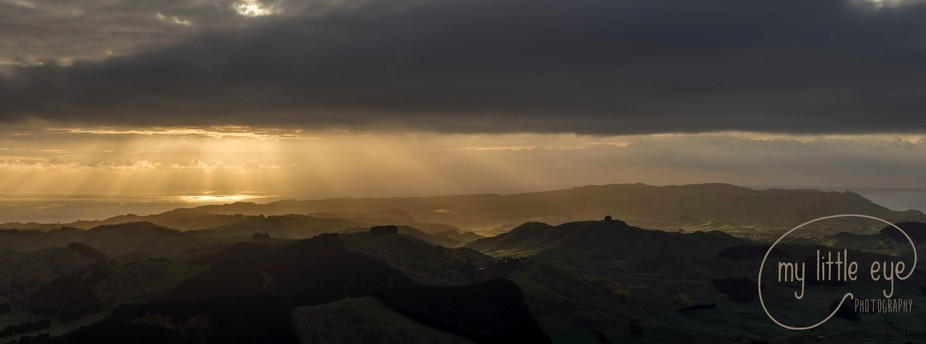 A rare treat at the very top of Hawke's Bay, New Zealand. Atop Te Mata Peak this view greeted u...