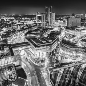 Birmingham by night in monochrome