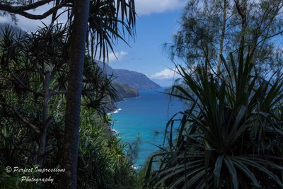 View of Napali Coast from the beginning of the Kalalau Trail