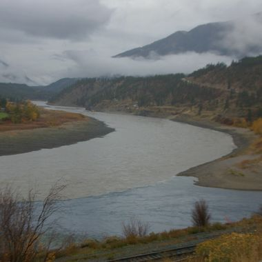 Blue Thompson pouring into the Mighty Muddy Fraser River
