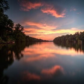 Long exposure HDR image of a sunset on the James River In Richmond VA