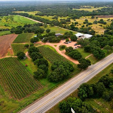 Working with helicopter pilot who flies for Equitis Flight LLC, this is a summer view of a boutique winery estate in the Texas Hill Country