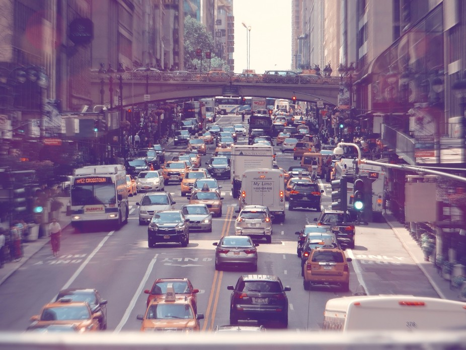 I took this shot from the top of a double decker bus in NYC near Times Square.