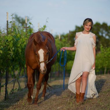Bride and Bridle in the vineyard at Hawk's Shadow Estate in the Texas hill Country
