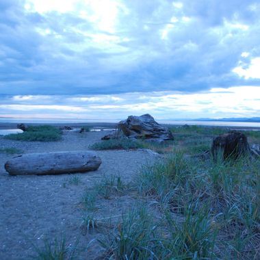 Beautiful bluey purple sky & beach mid June 2014 Parksville park eve