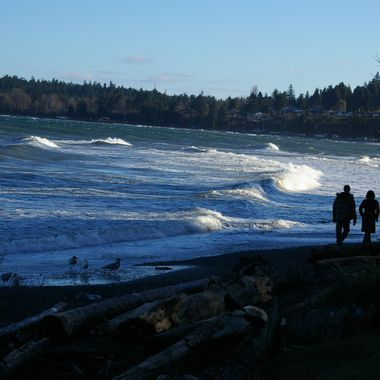 EVENING WALK ALONG QUALICUM BEACH'S BLUE WAVES - 2009