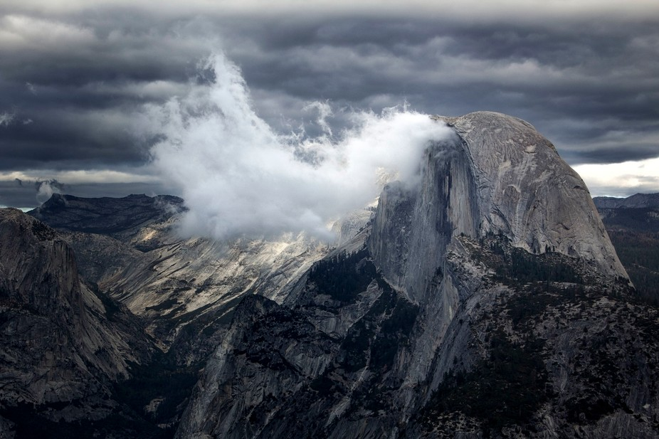 Storm rolling over Half Dome in Yosemite National Park