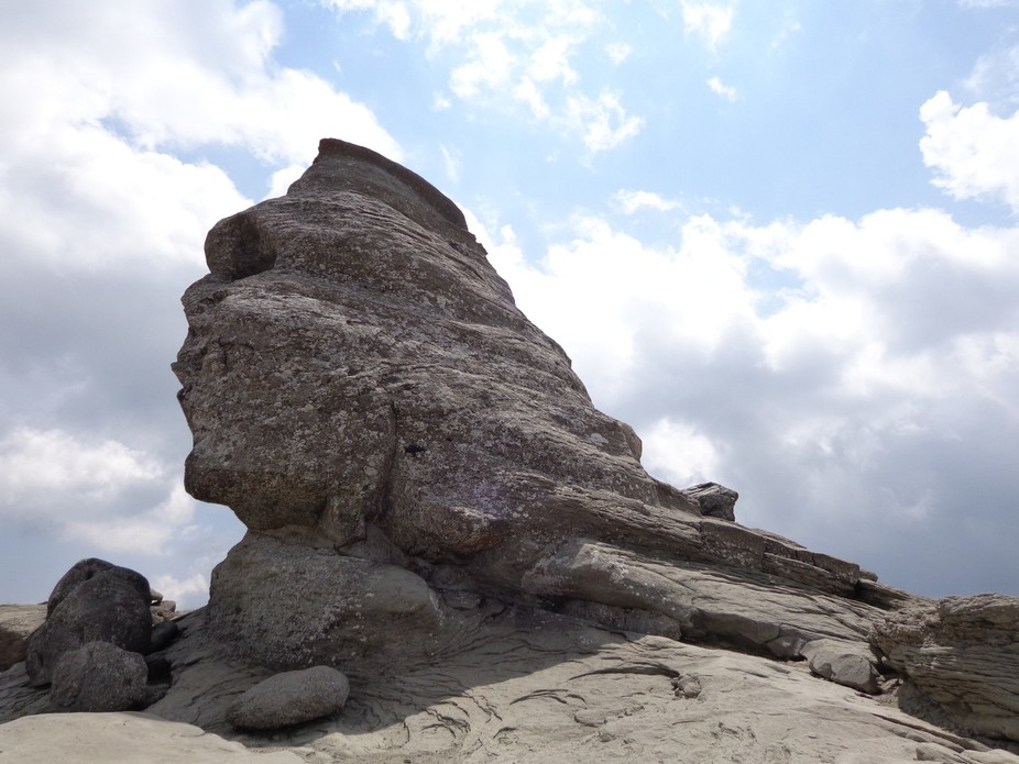 Natural rock formation in the Bucegi Natural Park ( Bucegi Mountains of Romania). This human look...
