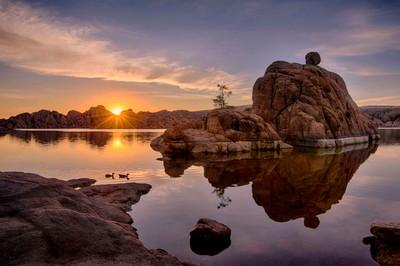 4 image HDR Watson Lake, Prescott AZ by Theo-Herbots-Fotograaf