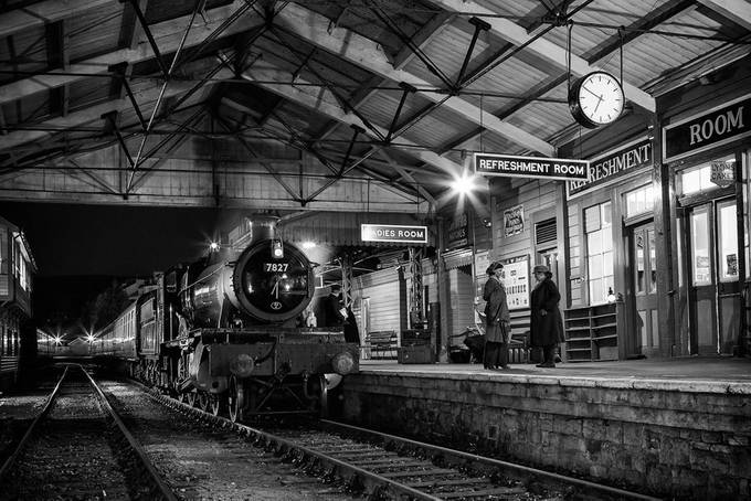Night-time at the station by StevenReidPhotography - A Black And White World Photo Contest