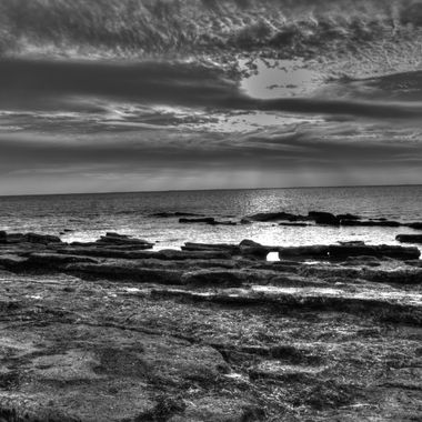 Sunset on Rocky Point in Black & White