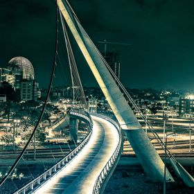 Pedestrian bridge in downtown San Diego, California USA