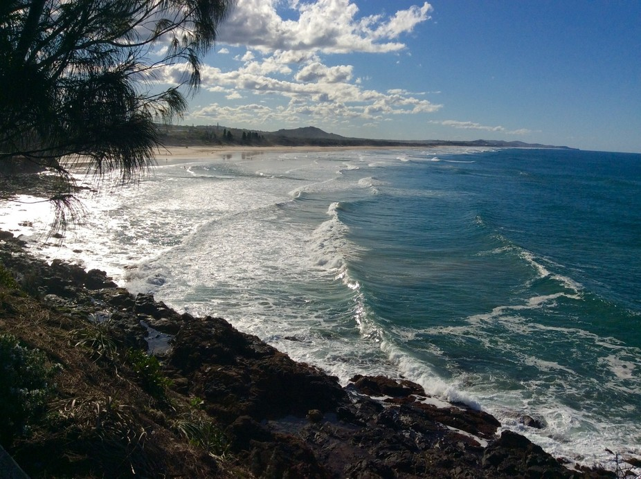 Point Arkwright Beach, Sunshine Coast, Australia. Climb up the headland and be prepared for breathtaking ocean views and also overlooking the popular beach-side town of Coolum to the north.