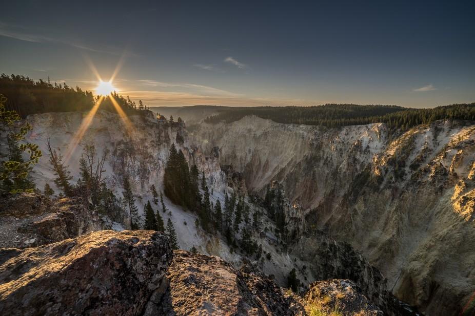 Sun Rising over Yellowstone Canyon