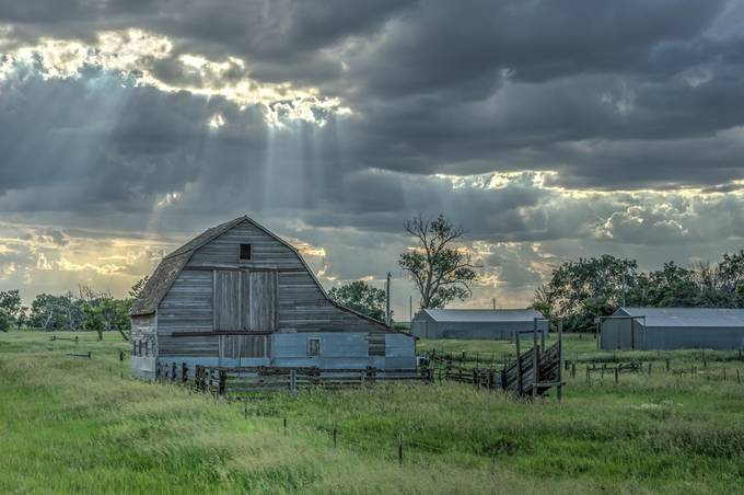 Sun Beams over the Barn by Steve_Renter - Farming Photo Contest