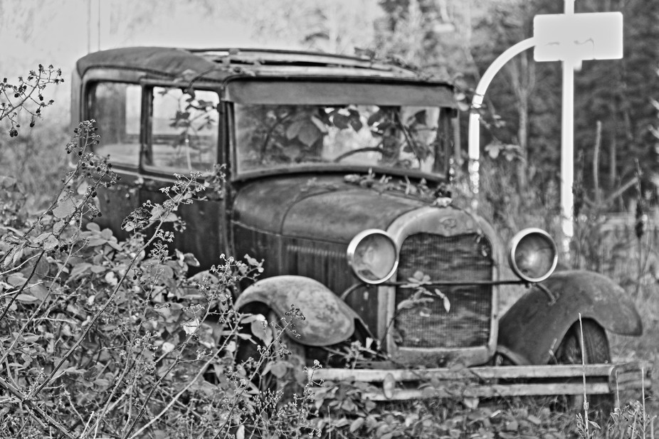 A photo of an old car I saw on the way to Whistler BC, awesome part of the world, can\'t wait to g...