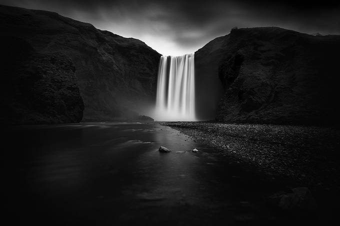Darkness at Skogafoss by pulaw89 - Awesomeness In Black And White Photo Contest