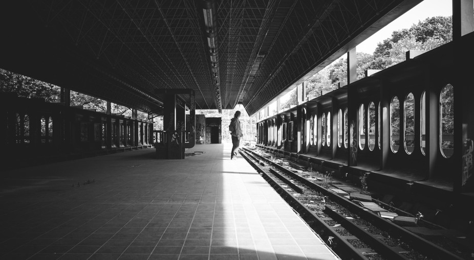 Waiting for a train at an abandoned Metro station.