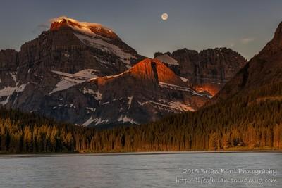 Moonset-Sunrise in Glacier National Park