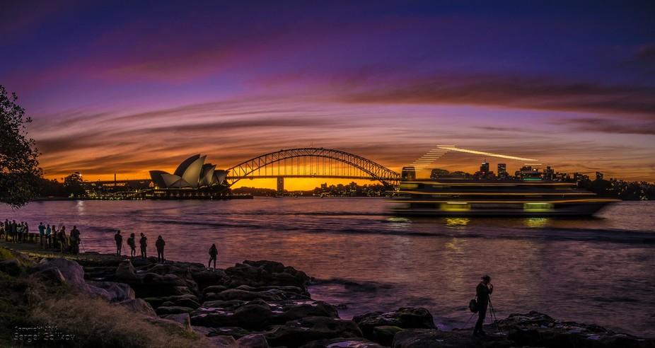 4 image stitched panorama, during a magic Sydney sunset.