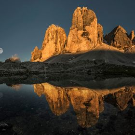 A couple of weeks either side of solstice the sun sets on the Tre Cime north faces themselves. This was the 4th attempt at this shot when finally...