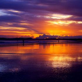 The vivid colours of dawn painted the wet sand providing the fishermen with a piture to feast the eyes on!