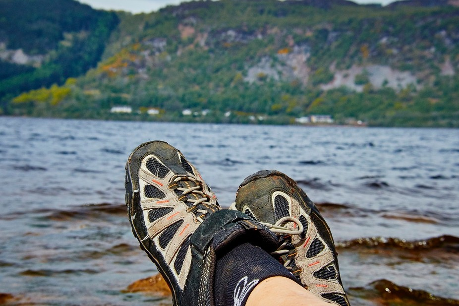 Kicking my feet up on the shore of Loch Ness.  <br />Just listening to the waves on the roc...