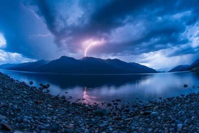 Lightning over Valhalla Provincial Park