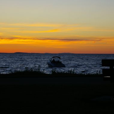 Boat in Parksville's Bay during this beautiful sunset