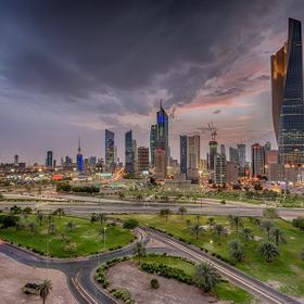 The arrival of dark cloudy storm at Kuwait city just after sunset.