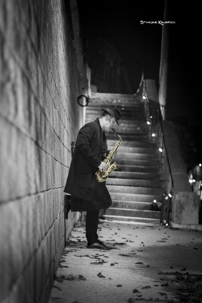 The golden saxophone player
