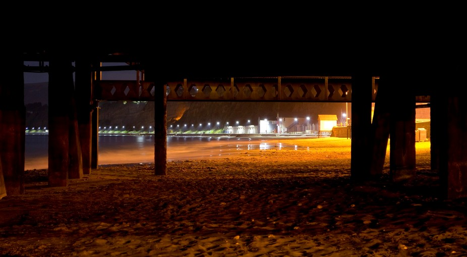 View underneath Sandown Pier on the Isle of Wight, England 2015.