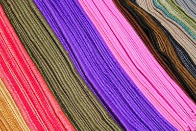 Rows of Colored Scarves at the Otavalo market