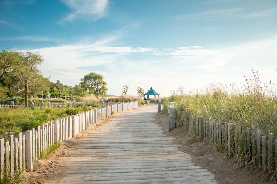 Grand Bend beach boardwalk after the storm