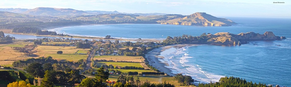 View from a hilltop of the adjacent bays of Karitane and Waikouaiti on the east coast of New Zeal...