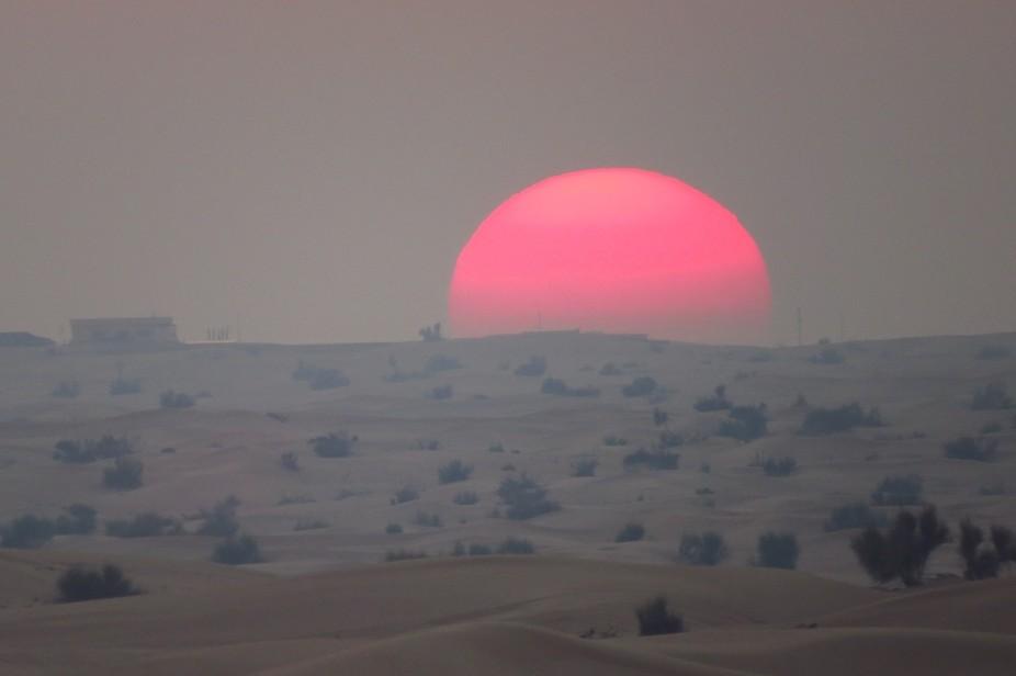 Sun over desert, Dubai
