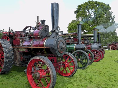 Steam engines in line