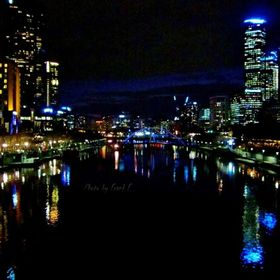 Melbourne skyline after dark.  Looking west from the Princes Bridge.