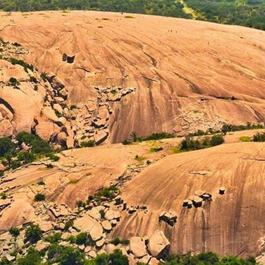 This granite dome is one of the most visited and hiked state parks in Texas.  Look closely... this photo has been enlarged and cropped... those specs are hikers!  Aerial taken from Helicopter, Nikkor 24-120mm, cropped.