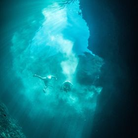 Free diving at dragon cave when people start swimming at the surface.