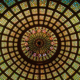 Title: The Tiffany Dome Shot Taken From: The Chicago Cultural Center, 78 E Washington St Chicago, IL 60602 Google Earth: 41.884061, -87.624964 Ab...