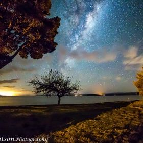 Shot from the Turangi area, Taupo lights in the distance