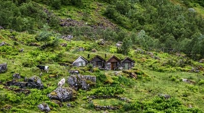 Old mountain cabins from 18 century