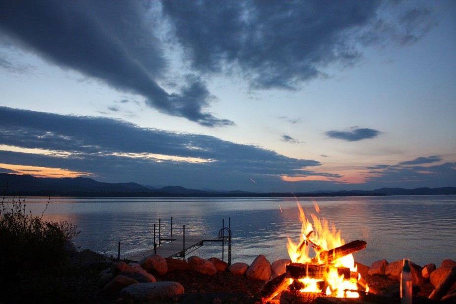 Fire pit looking out to Lake Champlain and New York.